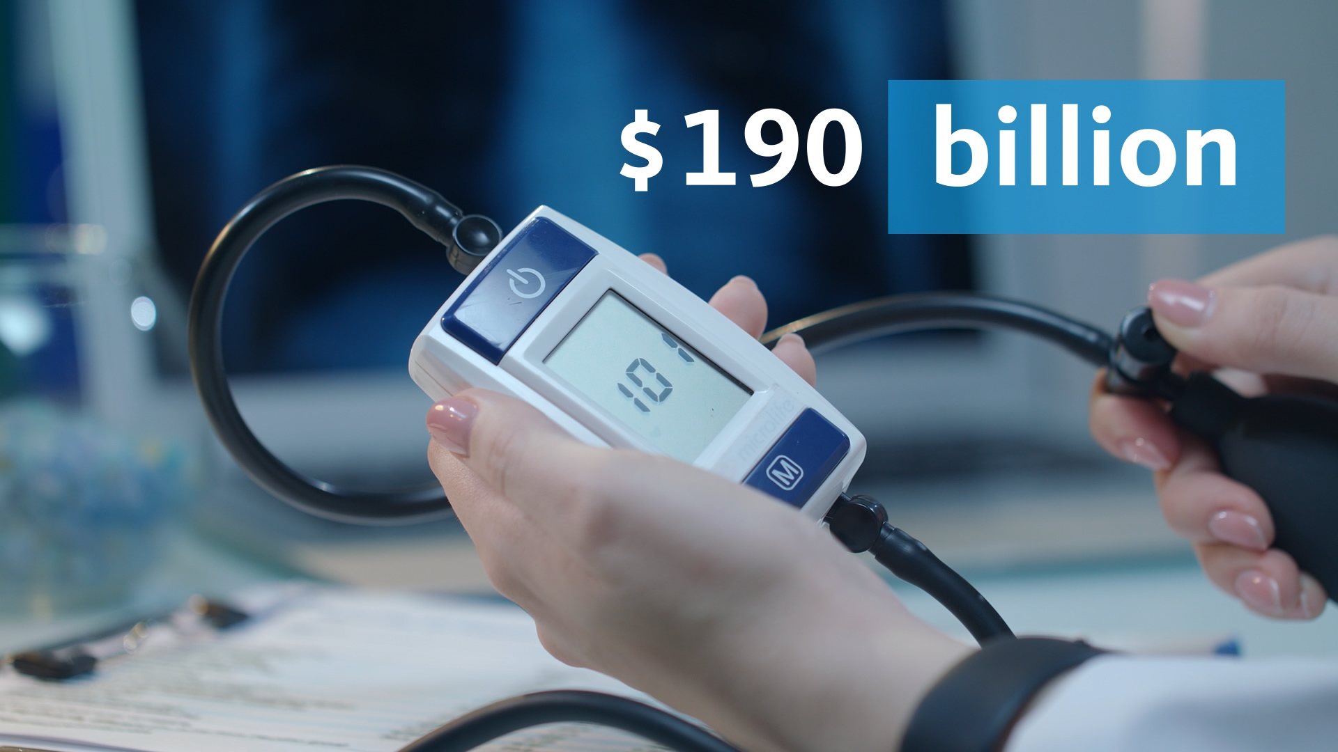 190 billion in text next to a blood pressure monitor