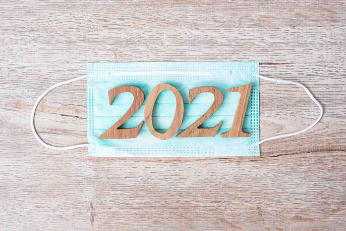 2021 on a surgical face mask