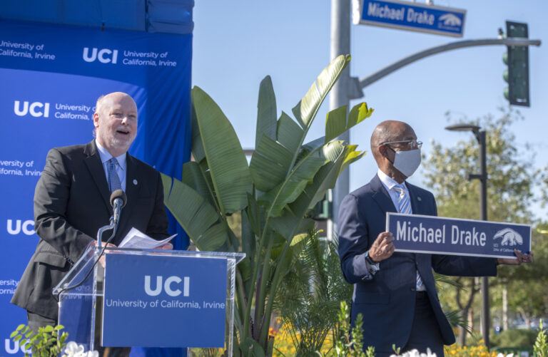 UCI Chancellor Howard Gillman and UC President Michael V. Drake at the June 4 ceremony christening Michael Drake Drive