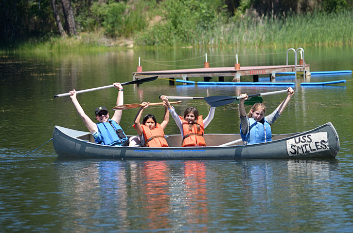 4-H campers in a canoe