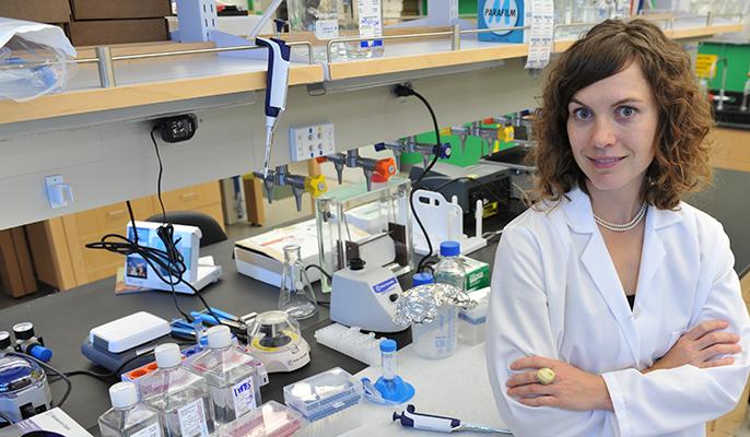 Amy Rowat in her UCLA laboratory.