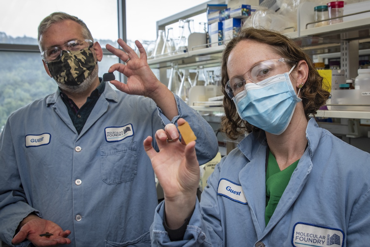 Berkeley Lab scientists Brett Helms and Corinne Scown hold samples of PDK plastic, a unique new material that can be recycled indefinitely