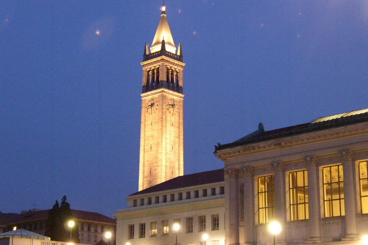 UC Berkeley's campanile at dusk