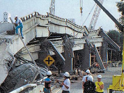 Collapsed Cypress structure, Loma Prieta quake, 1989 (USGS)
