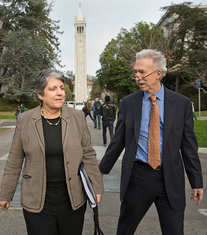 President Janet Napolitano and Photo of UC Berkeley Chancellor Nicholas Dirks on the Berkeley campus