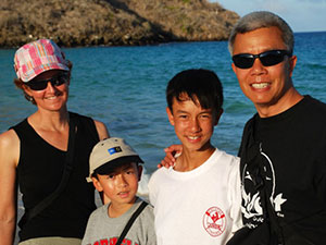 Tyler Chen and his family at the beach
