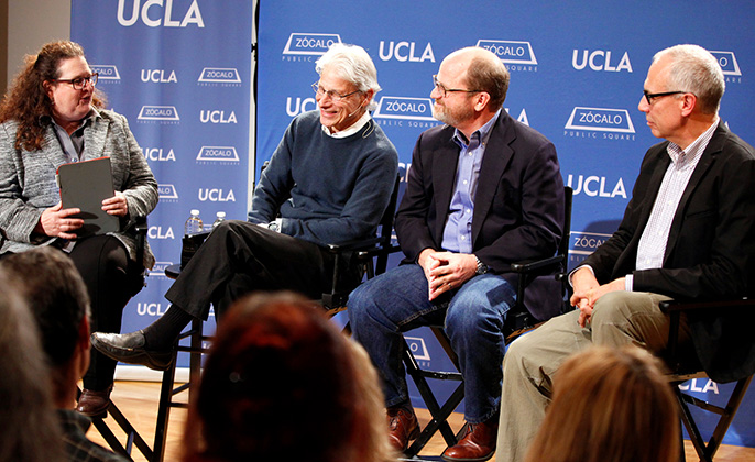 Moderator Evan Kleiman, Robert Goldberg, Russ Parsons and Edward Parson talk about the controversy over genetic modifications of our food. Goldberg and Parson are UCLA professors.