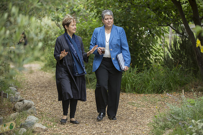 Alice Waters (left) tours the Edible Schoolyard in Berkeley with UC President Janet Napolitano at the launch of the UC Global Food Initiative.