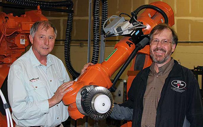 Lloyd Hackel, Brent Dane and peening robot