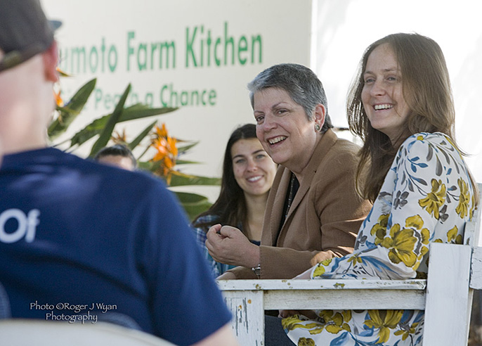 UC President Janet Napolitano listens to UC Global Food Initiative student fellows discuss their projects April 20 at Masumoto Family Farm in Del Rey.