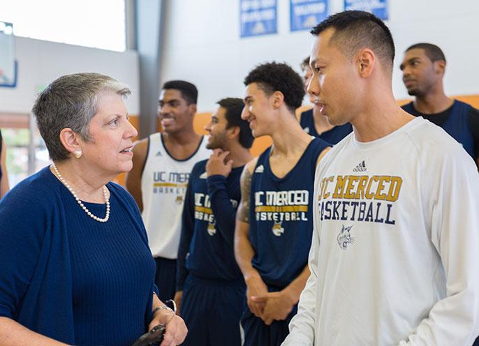 UC President Napolitano and UC Merced basketball players