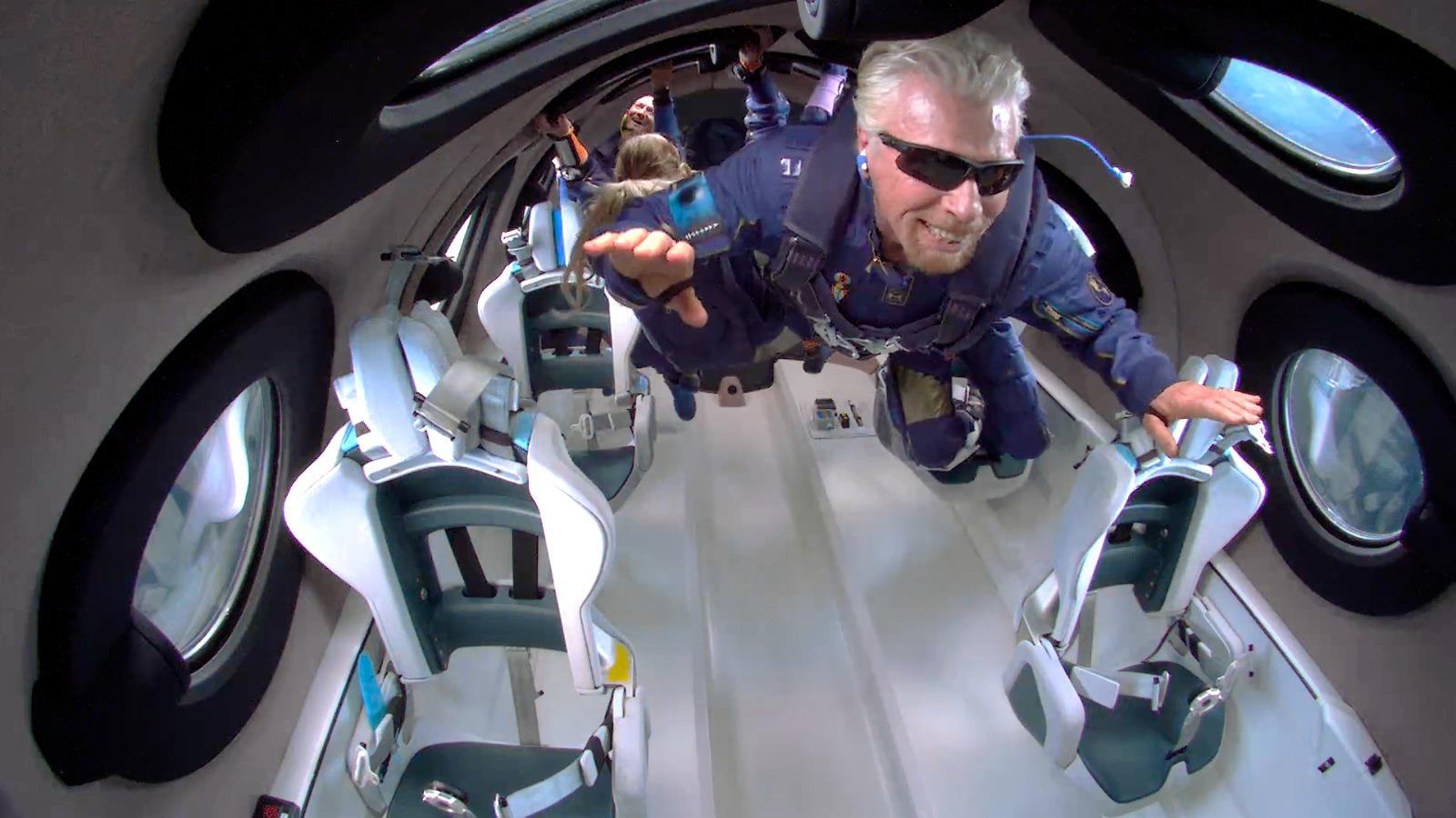 Sir Richard Branson is weightless in space on his Virgin Galactic passenger rocket plane.