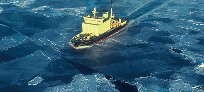 ship sailing through polar ice
