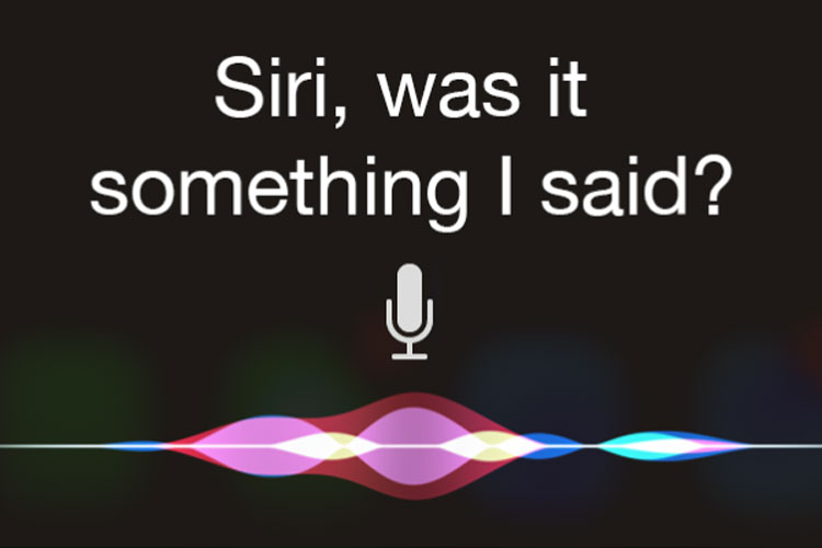 Image of the iPhone microphone screen for talking to Siri, Apple's personal digital assistant. I