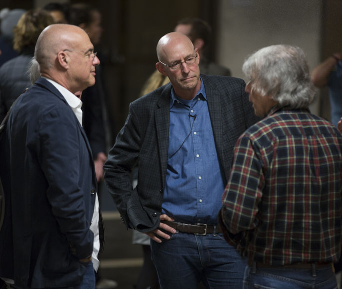 (From left) Mark Bittman, Michael Pollan and Garrison Sposito talk at the kickoff of the Edible Education course at UC Berkeley.