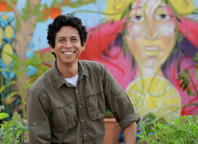 Fortino Morales III is coordinator of R'Garden, UC Riverside's 3-acre community garden