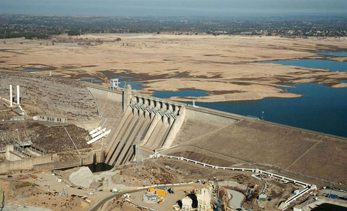 Lower lake levels due to drought