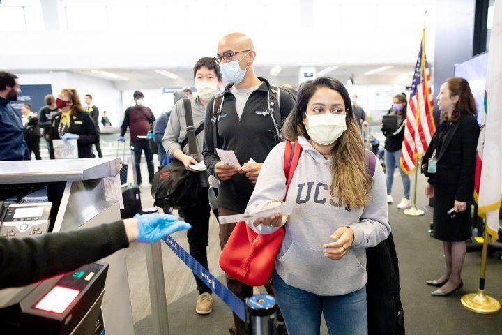 UCSF health workers at the airport, en route to New York City
