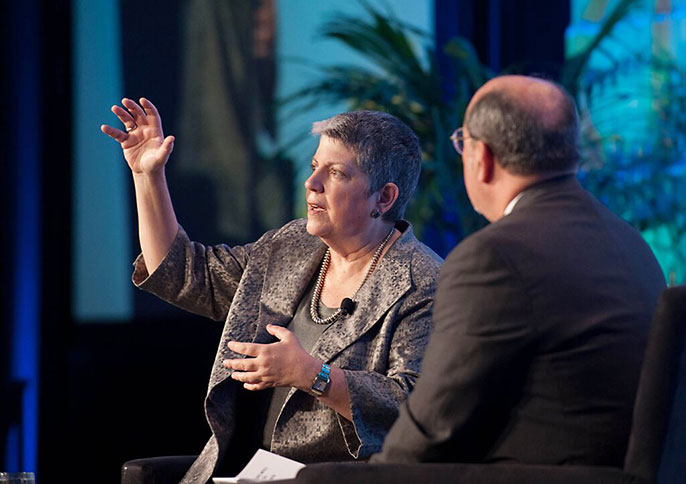 Janet Napolitano and Noah Brown