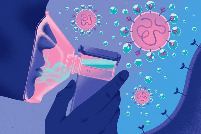 Illustration of someone using an Aeronabs inhaler, surrounded by virus molecules
