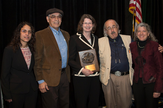 Barbara Allen-Diaz receives Frederick G. Renner Award. From left, Amy Ganguli, David Diaz, Allen-Diaz, Fee Busby and Maria Fernandez-Gimenez.