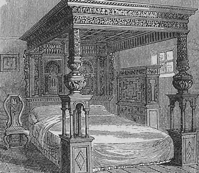 Old illustration of a bed