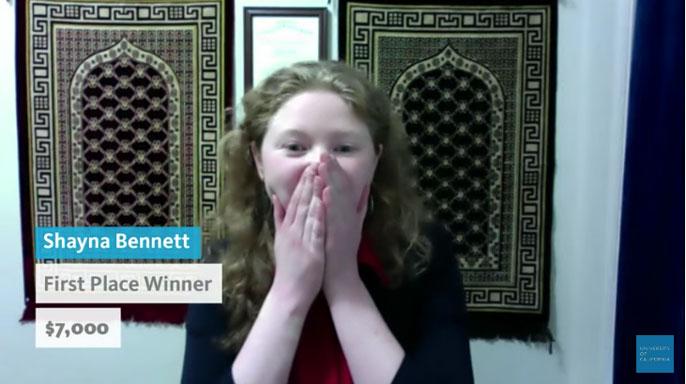 Shayna Bennett reaction to winning 2021 UC Grad Slam