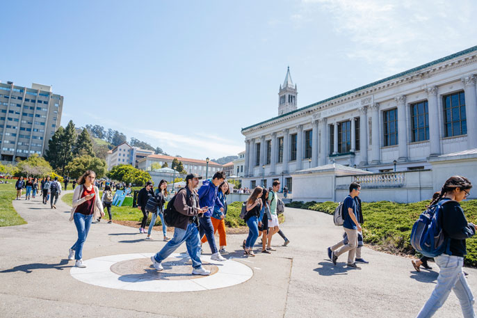 Students walk across the UC Berkeley campus