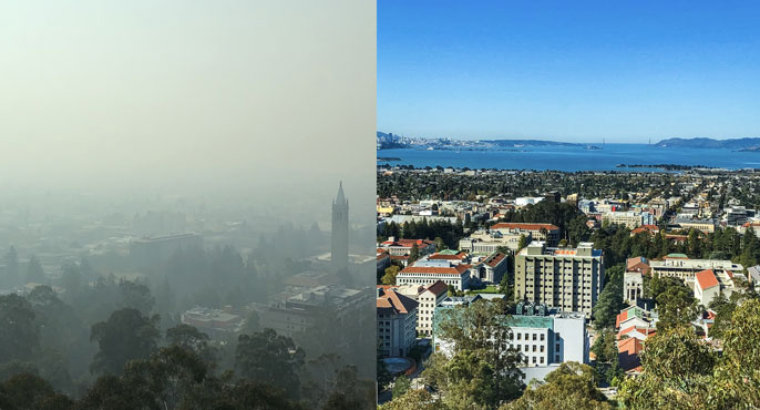 View from Berkeley Lab on a clear day versus a polluted one