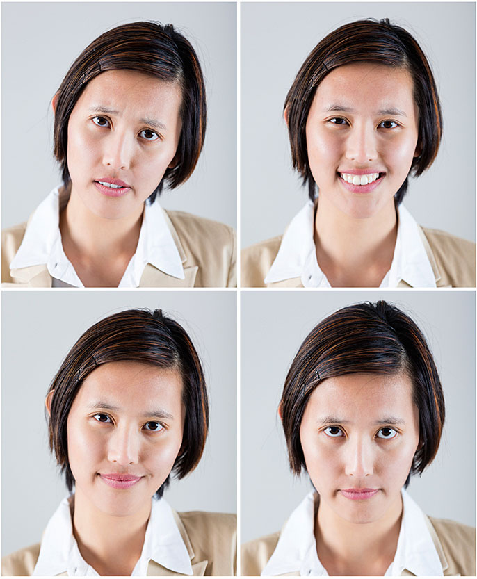 one woman, four expressions