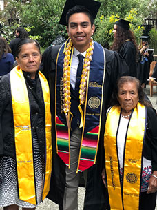 Osorio with family at UC Berkeley graduation