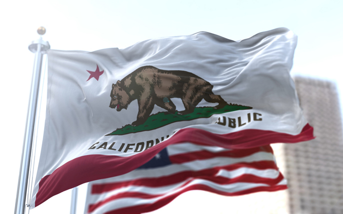 State of California flag flying in the wind.