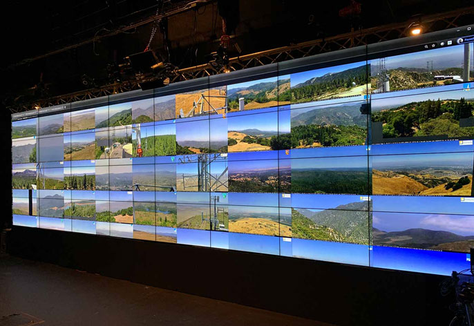 Multiple camera views on giant screen