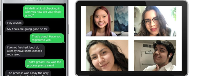 Texts from mentor-mentee and video chat squares side-by-side