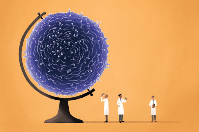 Illustration of scientists examining a cell that looks like a globe