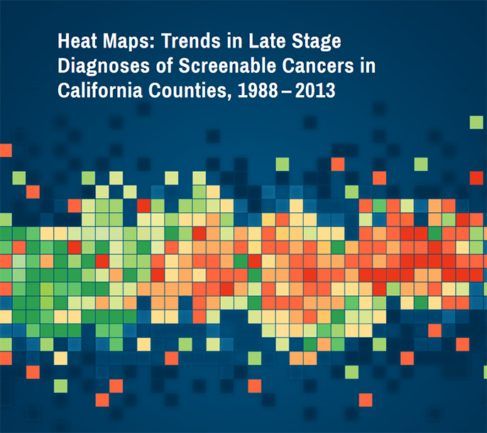 The CalCARES report uses heat maps to show areas with higher proportions of particular cancers diagnosed at a late stage, pointing to a need for increased screening.