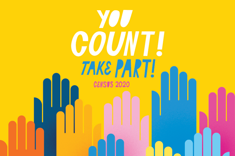 Illustrated hands raised together, above which reads: You count! Take part! Census 2020