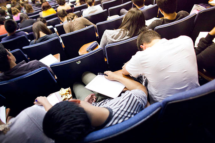 Students slumped in a classroom