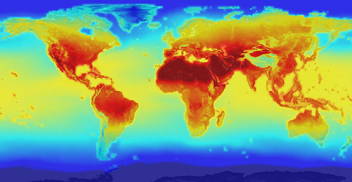 Heat map of the world's climate