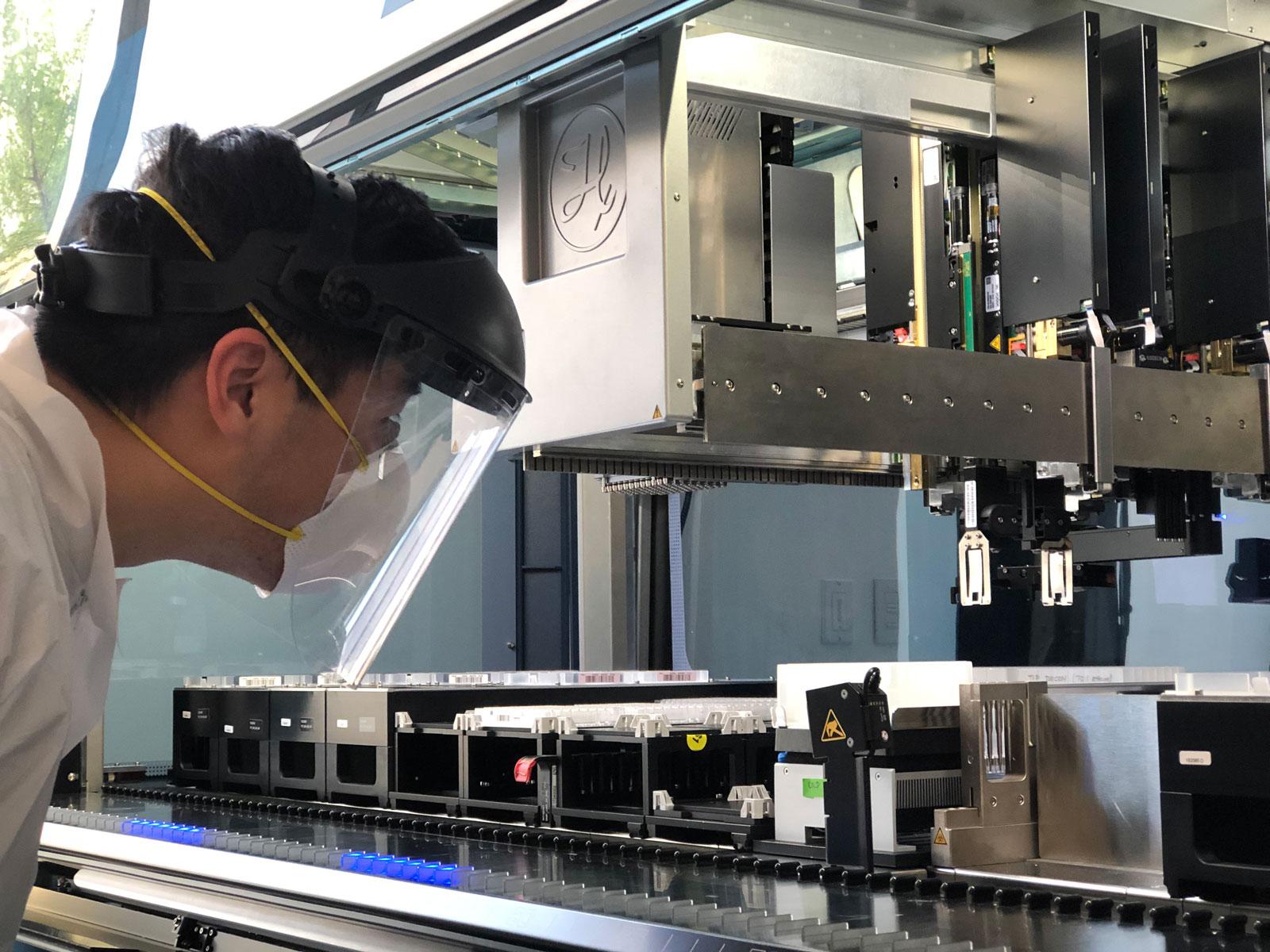 Connor Tsuchida working in Doudna's lab