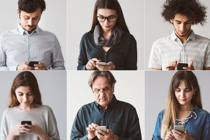 Several people on their phones