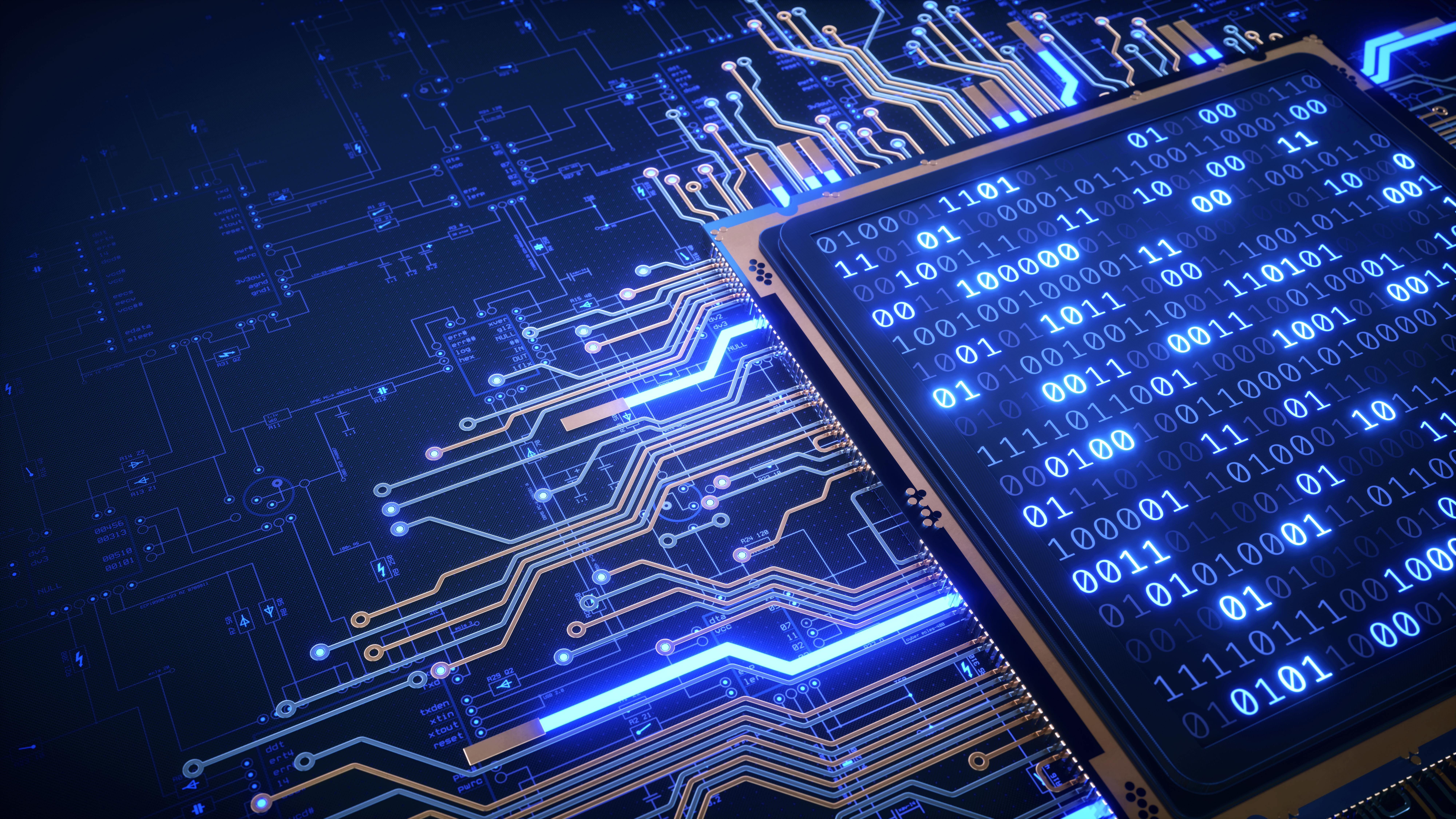 A computer chip lighting up blue on a blueprint