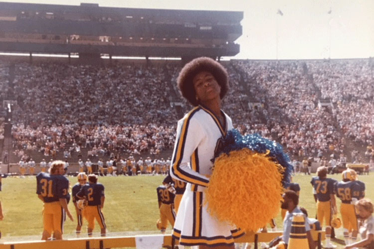 Cynthia Marshall, as a U C Berkeley cheerleader in the late 1980s