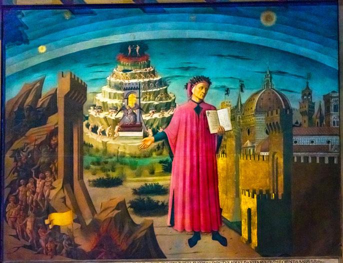 Domenico di Michelino Dante Divine Comedy Painting Duomo Cathedral Santa Maria del Fiore Church Florence Italy. Painting created 1465