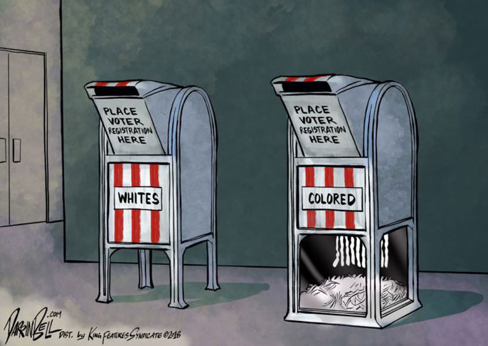 Darrin Bell cartoon with two ballot boxes