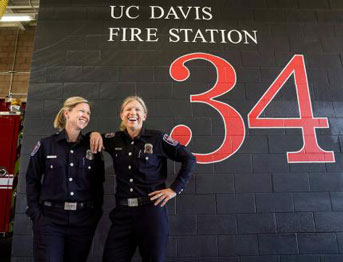 Cara and Meggie inside the UC Davis fire station
