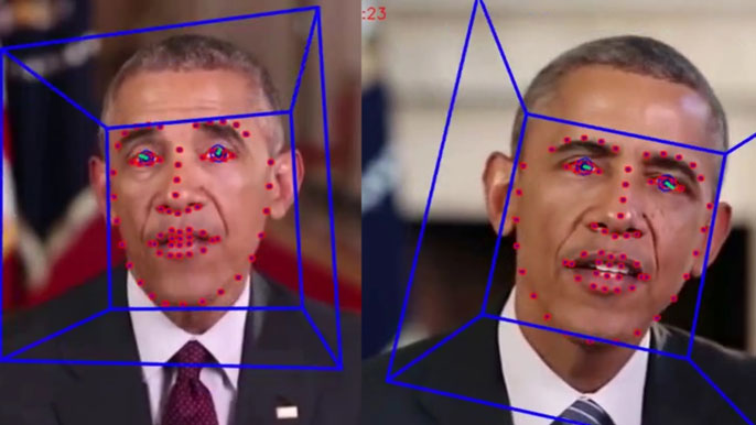 A fake President Obama and a real President Obama, as part of deepfake explanation