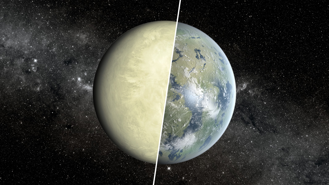 Illustration shows a Super Venus planet on the left and a Super Earth on the right.