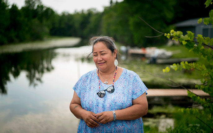 Edith Leoso at the rice fields on the Bad River Reservation.
