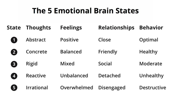 list of emotional brain states